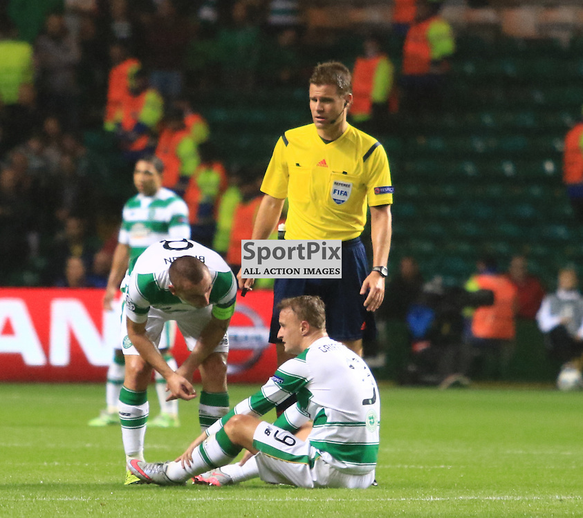 Another injury scare for celtic with Leigh Griffiths going down during the Glasgow Celtic FC v Malmö FF Champions League Play-Off  19th August 2015 ©Edward Linton | SportPix.org.uk