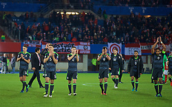 VIENNA, AUSTRIA - Thursday, October 6, 2016: Wales players applaud the travelling supporter after the 2018 FIFA World Cup Qualifying Group D 2-2 draw with Austria at the Ernst-Happel-Stadion. (Pic by David Rawcliffe/Propaganda)