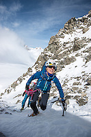 Squash Falconer, a female British adventurer, as seen during fast ascent of one of many snow couloirs of Aiguilles Marbrées.