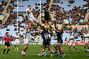 London Irish back row Matt Rogerson (6) wins a line out during the Gallagher Premiership Rugby match between Wasps and London Irish at the Ricoh Arena, Coventry, England on 20 October 2019.