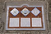Some ceramic plaques in Cathedral square remind us that the &quot;Sassi of Matera&quot; are included in the World Heritage List of UNESCO from 1993, Matera, Italy. &copy; Carlo Cerchioli<br /> <br /> Alcune targhe in ceramica in piazza del Duomo, ricordano che i Sassi di Matera sono nella lista dell'Unesco del Patrimonio dell'Umanit&agrave; dal 1993, Matera, Italia.