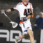 Domenic Sebastiani #45 of the Denver Outlaws is seen during the game at Harvard Stadium on May 10, 2014 in Boston, Massachusetts. (Photo by Elan Kawesch)