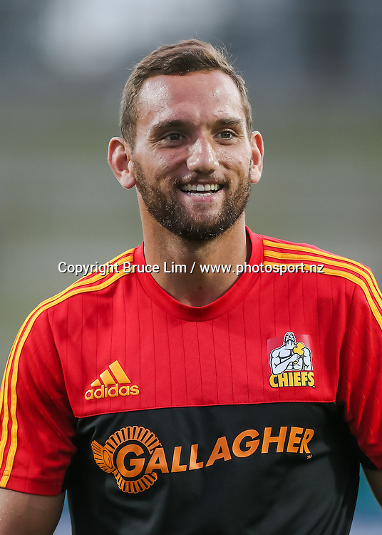 Chiefs first five Aaron Cruden warms up ahead of the Super Rugby match - Chiefs v Western Force played at FMG Stadium Waikato, Hamilton, New Zealand on Saturday 26 March 2016. <br /> <br /> Copyright Photo: Bruce Lim / www.photosport.nz