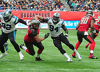 American Football - 2019 NFL Season (NFL International Series, London Games) - Tampa Bay Buccaneers vs. Carolina Panthers<br /> <br /> British born, Efe Obada (94), at Tottenham Hotspur Stadium.<br /> Efe Obada played just 5 games of Amateur American Football for the London Warriors, has made it to the elite level with the Panthers and is now a regular starter.<br /> <br /> COLORSPORT/ANDREW COWIE