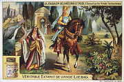 'Jerusalem Delivered' (1580) epic poem by Torquato Tasso, Italian poet. Fictionalised story of First Crusade 1095-1099.  Christian knight Rinaldo, leaving the enchantress Armide. Liebig Trade Card c1900. Chromolithograph.