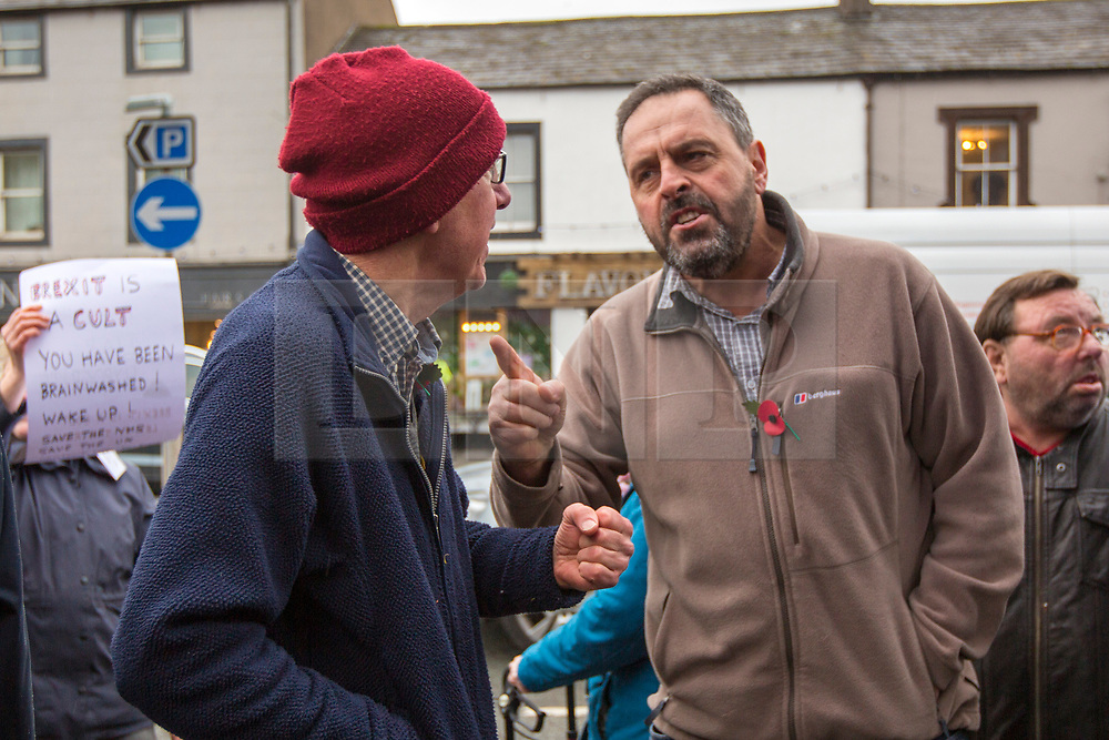 © Licensed to London News Pictures. 06/11/2019. Workington UK. Tempers flair between Pro & Anti brexit supporters outside the Washington Central Hotel where Brexit Party Leader Nigel Farage is today as he continues his nationwide tour as part of the General Election Campaign. Photo credit: Andrew McCaren/LNP