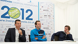 LIVERPOOL, ENGLAND - Thursday, June 21, 2012: Richard Krajicek (NED),c Greg Rusedski (GRB) and Tournament Director Anders Borg during a press conference on the opening day of the Medicash Liverpool International Tennis Tournament at Calderstones Park. (Pic by David Rawcliffe/Propaganda)