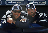 PEORIA, AZ - FEBRUARY 24:   Will Venable #25 and Joe Thatcher #54 of the San Diego Padres pose for a photo in the dugout prior to the spring training game against Seattle Mariners at Peoria Sports Complex on February 24, 2013 in Peoria, Arizona.  (Photo by Jennifer Stewart/Getty Images) *** Local Caption *** Will Venable; Joe Thatcher