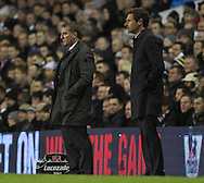 Picture by David Horn/Focus Images Ltd +44 7545 970036.28/11/2012.Andre Villas-Boas (right) Manager of Tottenham Hotspur and Brendan Rodgers Manager of Liverpool look on during the Barclays Premier League match at White Hart Lane, London.