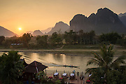 View from Elephant Crossing hotel over Vang Vieng's spectacular limestone cliffs, Laos