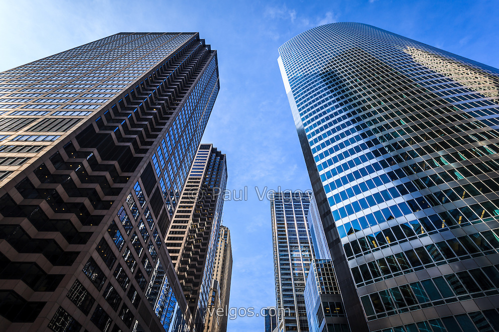 Chicago buildings looking up to the sky from a low angle view