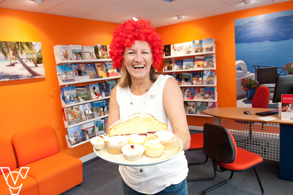 Pictured is Long Sutton travel centre colleague Jane Peacock <br /> <br /> Lincolnshire Co-operative colleagues have been raising money for the Teenage Cancer Trust during their 'Get Wiggy With It' day!<br /> <br /> Date: July 31, 2015