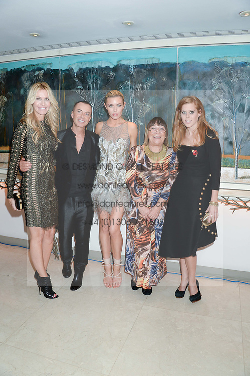 Left to right, MELISSA ODABASH, JULIEN MACDONALD, ABBEY CLANCY, HILARY ALEXANDER and PRINCESS BEATRICE OF YORK at Fashion For The Brave at The Dorchester, Park Lane, London on 8th November 2013.
