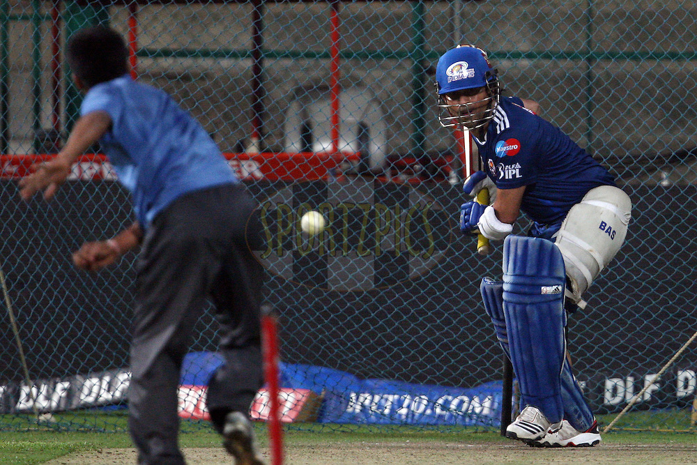 Sachin Tendulkar during the practice session and press conference of the Royal Challengers Bangalore and Mumbai Indians held at the M. Chinnaswamy Stadium, Bengaluru on the 13 May 2012..Photo by Jacques Rossouw/IPL/SPORTZPICS