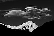 Amazing sierra wave clouds over Trojan Peak in the Alabama Hills near Lone Pine, California, USA,