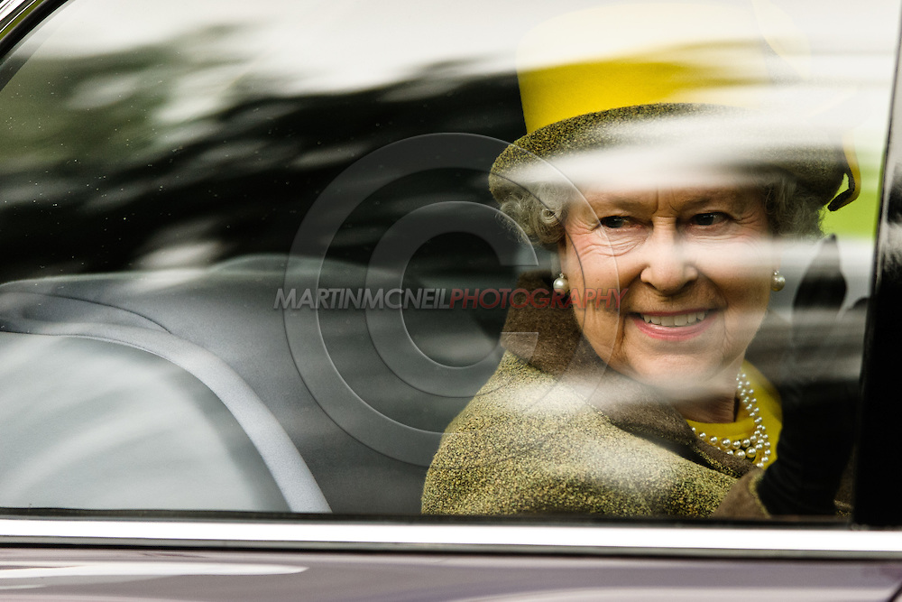 BRAEMAR, ROYAL DEESIDE, SCOTLAND, SEPTEMBER 5, 2009: HRH Queen Elizabeth II departs the grounds of the Royal Highland Games in Braemar, Scotland on September 5, 2009