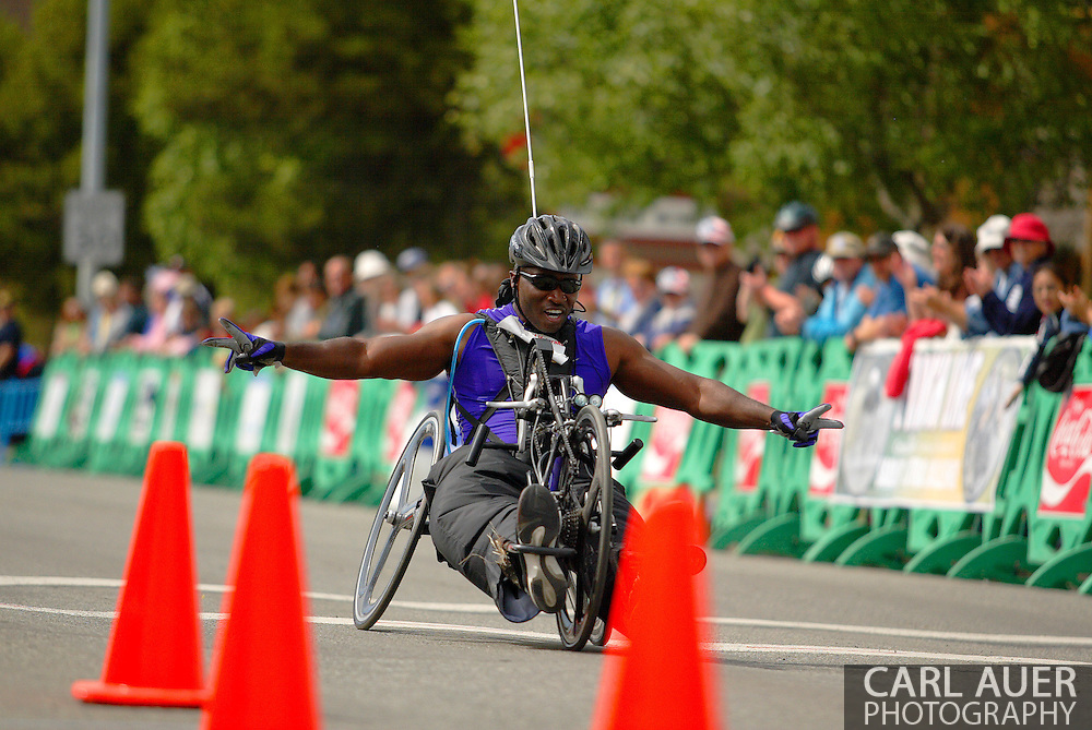 July 4th, 2006:  Anchorage, Alaska - James McGilberry (554), Army veteran from Banning, Calif, glides across the finish in the 5k handcycle event at the 26th National Veterans Wheelchair Games.