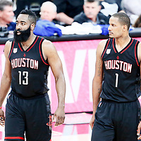 01 May 2017: Houston Rockets forward Ryan Anderson (3) is seen next to Houston Rockets forward Trevor Ariza (1) during the Houston Rockets 126-99 victory over the San Antonio Spurs, in game 1 of the Western Conference Semi Finals, at the AT&T Center, San Antonio, Texas, USA.