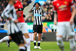 Kenedy of Newcastle United reacts after missing a chance - Mandatory by-line: Matt McNulty/JMP - 11/02/2018 - FOOTBALL - St James Park - Newcastle upon Tyne, England - Newcastle United v Manchester United - Premier League
