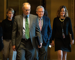 October 6, 2018 - Washington, DC, U.S. - Senate Majority Leader Mitch McConnell makes his way to the Senate floor before the vote confirming Judge Brett Kavanaugh to a seat on the U.S. Supreme Court. Photo:  Jay Mallin    jay@jaymallinphotos.com (Credit Image: © Jay Mallin/ZUMA Wire)