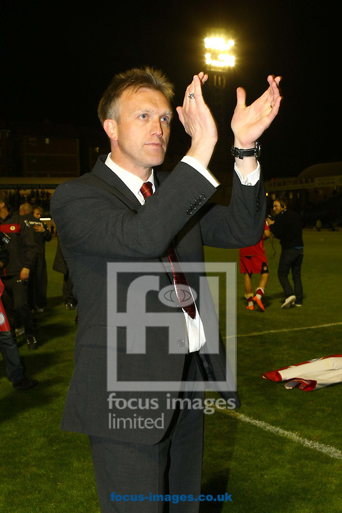 Picture by Paul Chesterton/Focus Images Ltd. 07904 640267.16/05/12.Crewe Manager Steve Davis celebrates victory at the end of the Npower League 2 play off semi final 2nd leg match at Roots Hall Stadium, Southend.