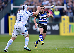 George Ford of Bath Rugby puts boot to ball - Mandatory byline: Patrick Khachfe/JMP - 07966 386802 - 17/10/2015 - RUGBY UNION - The Recreation Ground - Bath, England - Bath Rugby v Exeter Chiefs - Aviva Premiership.