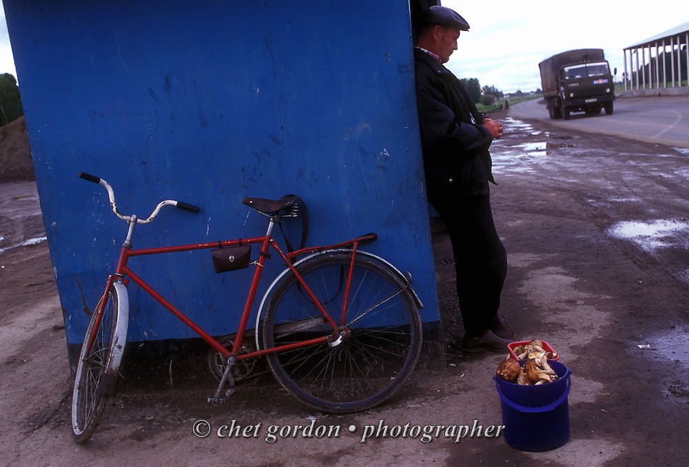 A man sells mushrooms at a roadside stop near Novosibirsk, Siberia. Russian Federation. June 2000.