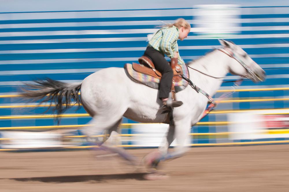 Junior barrel racing, Airdrie Rodeo, Airdrie, Alberta, Canada