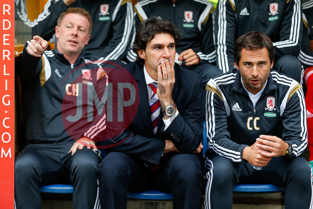 Manager Aitor Karanka of Middlesbrough looks on from the dugout - Photo mandatory by-line: Rogan Thomson/JMP - 07966 386802 - 13/09/2014 - SPORT - FOOTBALL - Huddersfield, England - The John Smith's Stadium - Huddersfield town v Middlesbrough - Sky Bet Championship.