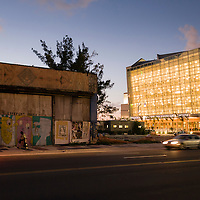 Biscayne Blvd and NE 14th St. before demolition, featuring the Arsht Performing Arts Center in downtown Miami.  Image from a series called Paradise Lost, the changing face of Miami.