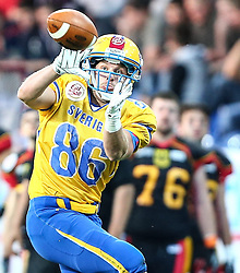03.06.2014, NV Arena, St. Poelten, AUT, American Football Europameisterschaft 2014, Gruppe A, Schweden (SWE) vs Deutschland (GER), im Bild Johan stal, (Team Sweden, WR, #86) // during the American Football European Championship 2014 group A game between Sweden vs Germany at the NV Arena, St. Poelten, Austria on 2014/06/03. EXPA Pictures © 2014, PhotoCredit: EXPA/ Thomas Haumer
