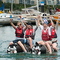 REPRO FREE<br /> 'The Pirates' from Kinsale, Siobhan Howe, Vicky Curtin, Grace Birmingham and Gwen Burchell, celebrate finishing the RNLI Raft Race in Kinsale on Saturday of the Bank Holiday Weekend<br /> Picture. John Allen
