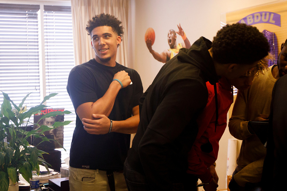 LiAngelo Ball smiles before the introduction of his brother Lonzo Ball as the Lakers draft pick at Laker's Practice Facility on Friday, June 23, 2017 in El Segundo, California. The Lakers selected Lonzo Ball as the No. 2 overall NBA draft pick and is the son of LaVar Ball. © 2017 Patrick T. Fallon