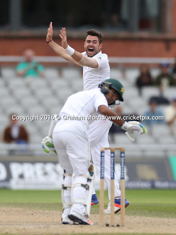 James Anderson appeals for the lbw of Asad Shafiq during the second Investec Test Match between England and Pakistan at Old Trafford, Manchester. Photo: Graham Morris/www.cricketpix.com 25/7/16