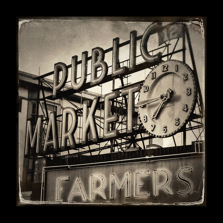 "Charles Blackburn Instagram image of Pike Place Market in Seattle, WA. 5x5"" print."