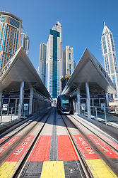 Modern railway station for Dubai Tram system in United Arab Emirates