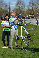 TV presenter Jeff Brazier and Dr Dawn Harper from C4's Embarrassing Bodies urge cyclists to sign up for the 'ultimate' London to Brighton cycle ride - the LA Fitness Capital to Coast cycle challenge takes place on Sunday 22nd June 2014.<br /> <br /> Thursday, 10th April 2014. Picture by Ben Stevens / i-Images
