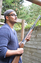 Faris McKinnon at Young Guns raising money for the fight against breast cancer trough Cancer Research UK held at EJ Churchill Shooting School followed by lunch at West Wycombe Park, England. 23 September 2017.