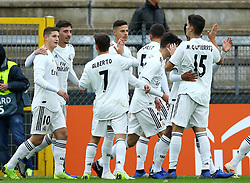 November 27, 2018 - Rome, Italy - AS Roma - FC Real Madrid : UEFA Youth League Group G .Real Madrid celebrates after the goal of 0-1 at Tre Fontane Stadium in Rome, Italy on November 27, 2018. (Credit Image: © Matteo Ciambelli/NurPhoto via ZUMA Press)