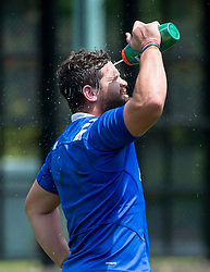 April 3, 2018 - Hong Kong, Hong Kong SAR, CHINA - HONG KONG,HONG KONG SAR,CHINA:April 3rd 2018. The USA Rugby team conduct a training session at So Kon Po recreation ground ahead of their Hong Kong Rugby 7's matches. Danny Barrett cools off. (Credit Image: © Jayne Russell via ZUMA Wire)