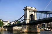 The Chain Bridge over the Danube River, Budapest, Hungary as seen from the river