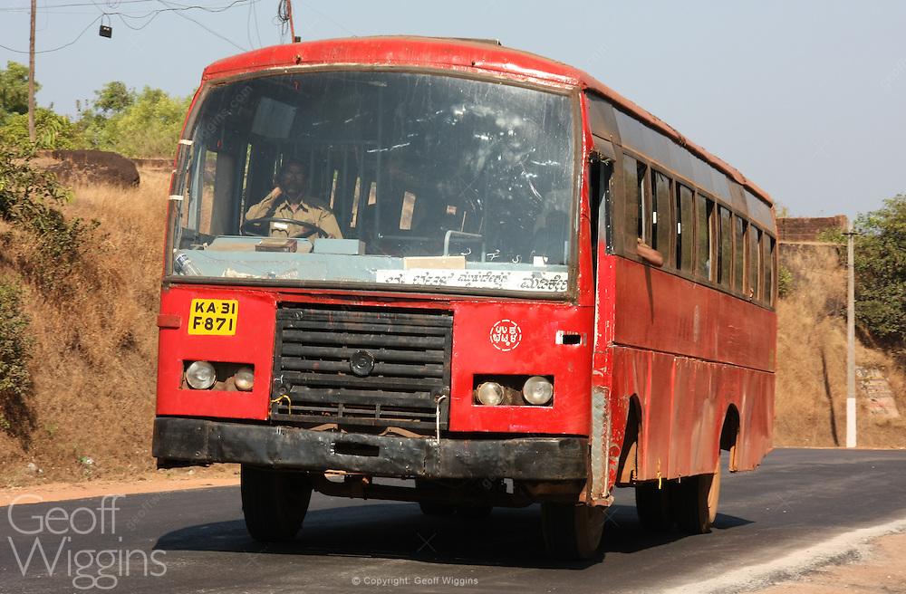 Karnataka State Road Transport Corporation, Ashok Leyland Express bus on National Highway 17, India