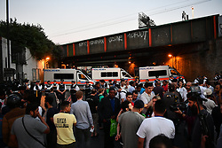 © Licensed to London News Pictures. 19/06/2017. London, UK. The scene outside Finsbury Park Mosque in north London where a van ploughed into a crowd outside Finsbury Park Mosque, as they finished taraweeh, Ramadan evening prayers. Two people are reported to be dead. Photo credit: Ben Cawthra/LNP