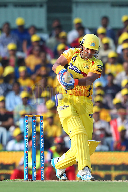 Suresh Raina of the Chennai Superkings  during match 37 of the Pepsi IPL 2015 (Indian Premier League) between The Chennai Superkings and The Royal Challengers Bangalore held at the M. A. Chidambaram Stadium, Chennai Stadium in Chennai, India on the 4th May April 2015.<br /> <br /> Photo by:  Ron Gaunt / SPORTZPICS / IPL