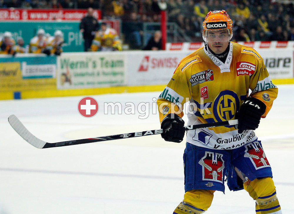 HC Davos forward Petr Sykora is pictured during the ice hockey game of the Swiss National League A (Season 2011-2012) between Kloten Flyers and HC Davos (HCD) held at the Kolping Arena in Kloten, Switzerland, Saturday, Jan. 21, 2012. (Photo by Patrick B. Kraemer / MAGICPBK)