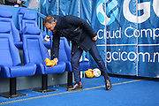 Sheffield Wednesday head coach Carlos Carvalhal dries his seat before the Sky Bet Championship match between Sheffield Wednesday and Cardiff City at Hillsborough, Sheffield, England on 30 April 2016. Photo by Ellie Hoad.