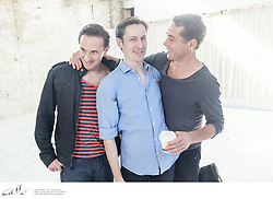 Angels In America cast members Mitchell Butel, Luke Mullins and Marcus Graham at the Belvoir rehearsal space in Surry Hills, New South Wales.
