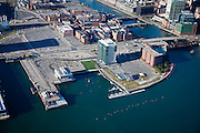 Anthony's Pier 4  and ICA to the new Federal Court House on Fan Pier with the Boston Wharf buildings fronting Fort Point Channel.