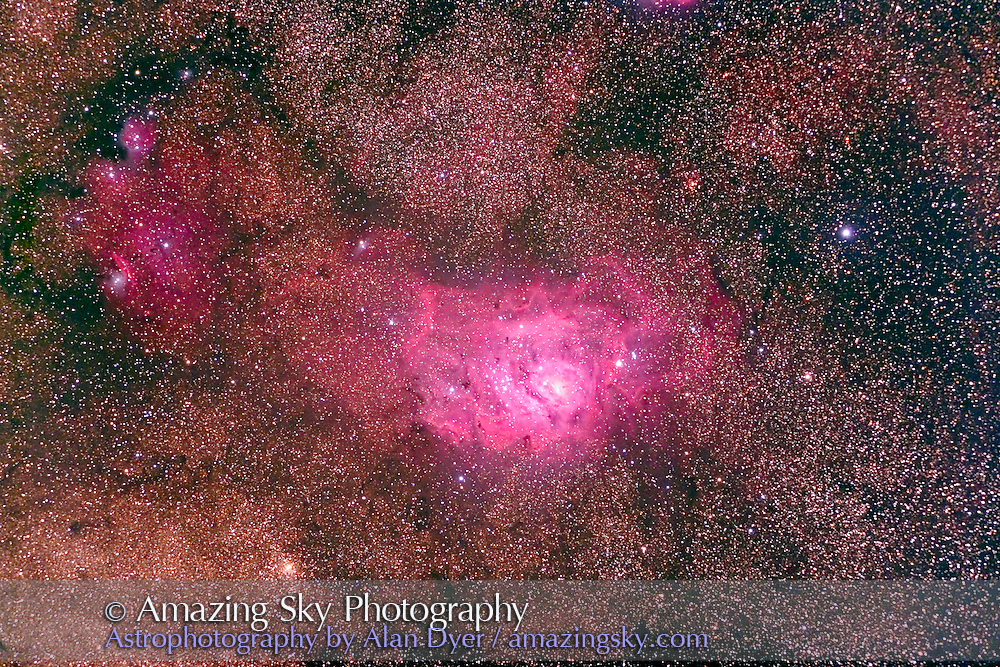 M8 Lagoo Nebula, taken with 4-inch Astro-Physics Traveler refractor at f/6 with 6x7 field flattener and Hutech-modified Canon 5D camera for stack of 4 x 16 minute exposures at ISO 400. Taken from Coonabarabran, NSW, Australia, April 24, 2007. Scope aimed nearly straight up for this, causing some trailing and guiding error.