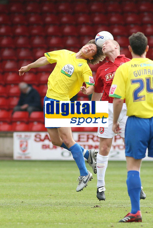 Photo: Mark Stephenson.<br />Walsall v Hereford United. Coca Cola League 2. 09/04/2007. Hereford's Luck Webb heads the ball